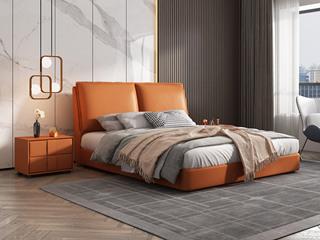 极简风格  充盈软靠 实木 爱马仕橙色 皮艺 1.8米双人床