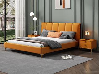 现代简约 柔软舒适 皮艺 金橙色 卧室双人床1.8床