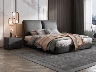 极简风格  充盈软靠 实木 深灰色 皮艺 1.5米双人床