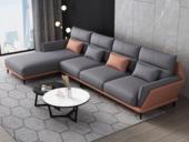 纾康 现代简约 科技布  实木框架 高弹海绵 转角沙发(1+2+右贵妃) 靠包腰枕随机发