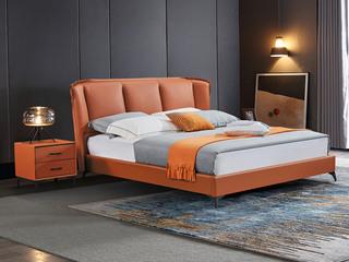 极简风格 舒适软靠 真皮+实木框架 爱马仕橙 1.5米 床