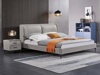 极简风格 舒适软靠 高端皮艺+实木框架 浅灰色 1.5米 床