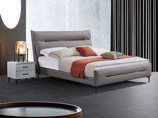 极简风格 舒适软靠 真皮+实木框架 深灰色 1.8米 床
