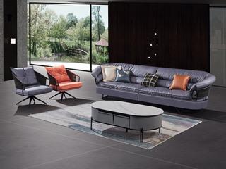 极简风格 高弹坐感 超柔科技布+乳胶+羽绒 实木框架 四人位+单椅 组合沙发