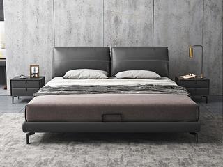极简风格 真皮 全实木内架 超柔软鹅绒 1.5米卧室双人床(搭配10公分松木排骨架)
