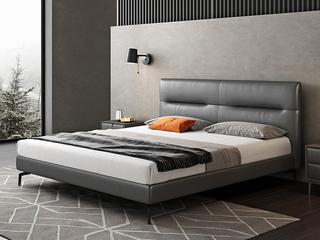 极简风格 全实木内架 柔软舒适 科技布1.8米卧室双人床(搭配10公分松木排骨架)