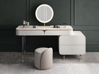 轻奢风格 岩板台面 圆形化妆镜 妆台+妆镜+妆凳+柜子组合