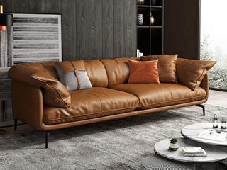 极简风格 超柔舒适 全实木框架+白鹅羽绒靠包 四人位 仿真皮沙发