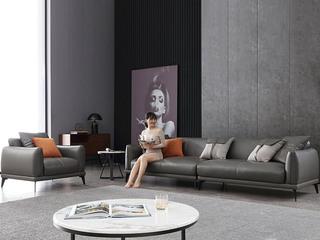极简风格 高弹舒适 整块乳胶+全实木框架+白鹅羽绒靠包 四人位 仿真皮沙发