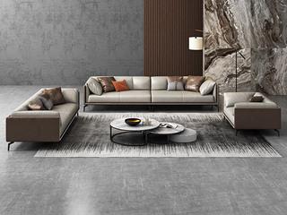 极简风格 高弹舒适 全实木框架+白鹅羽绒靠包 1+2+3 真皮沙发