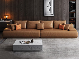 极简风格 高弹舒适 全实木框架+白鹅羽绒靠包 大四人位 科技布沙发