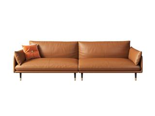 极简风格 高弹舒适 全实木框架+白鹅羽绒靠包 四人位 真皮沙发