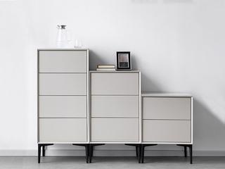 极简风格 进口优质岩板柜面 黑色磨砂五金脚 大容量储物 三斗柜