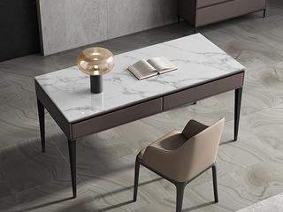 极简风格 防刮耐磨岩板桌面 双抽大容量储物 长1.2米书桌