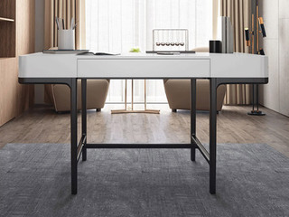 极简风格 白蜡木实木 抗压承重 白色 长1.2米功能书桌