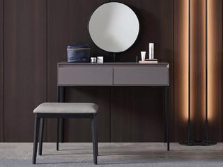 极简风格 双抽式大容量实木储物抽屉 高弹舒适 妆台+妆镜+妆凳 实用一体式长0.8米妆台组合