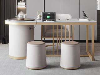 轻奢风格 防刮耐磨 岩板台面  环保实用 长1.2米茶台+1个茶椅+2个圆凳茶台组合