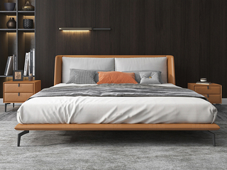 极简风格 实木内架 优质扪皮 暮光橙 床头柜