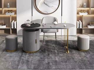 轻奢风格 环保皮艺 高弹舒适 灰色 茶凳圆凳