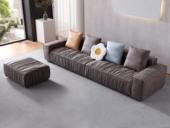 芬洛 现代简约  触感舒适  磨砂科技布 防刮耐磨 时尚咖啡色 2+2+脚踏沙发组合 长3米