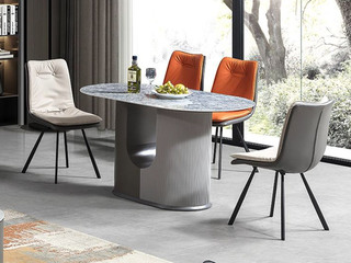 现代简约 防刮耐磨 易清洗 岩板台面 蓝水晶 餐桌