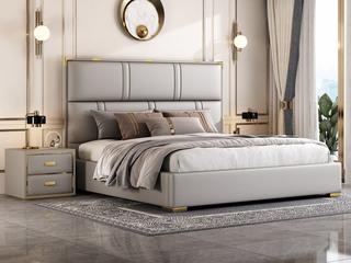 简美风格 全实木床边 布艺 舒适睡感 浅灰色 多功能储物实木高箱床 卧室1.8米双人床(图片为排骨架床)