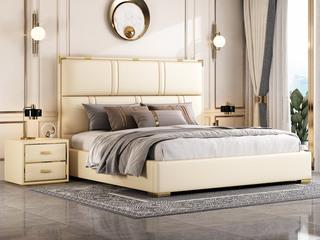 简美风格 全实木床边 皮艺 柔软舒适 米黄色 多功能储物实木高箱床 卧室1.5米床(图片为排骨架床)