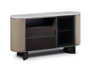 极简风格 进口烟熏木 质感细腻 防刮耐磨大理石台面 多容量储物餐边柜