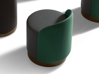 极简风格 高弹舒适 优质皮艺 绿色座背+黑色座包 圆凳
