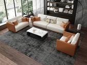 诺美帝斯 意式极简T18B沙发 皮艺橘+白皮艺 单人位+三人位沙发组合