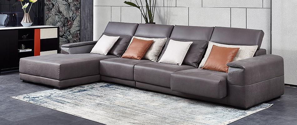 芬洛 鴕鳥紋科技布 轉角沙發